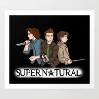 supernatural Art Prints featuring Supernatural by KewlZidane
