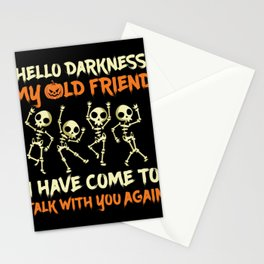 Hello Darkness My Oldfriend I Have Come To Talk With You Again Funny Halloween Stationery Cards