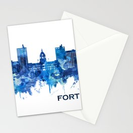 Fort Wayne Indiana Skyline Blue Stationery Cards