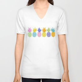 Colorful Pineapples Unisex V-Neck