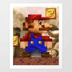 Super Mario Pixelated Realism Art Print