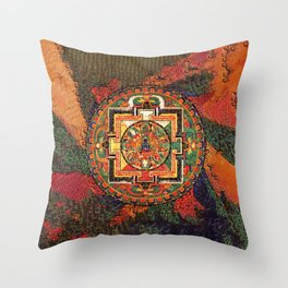 Buddhist Kalachakra Mandala Psychedelic Landscape Throw Pillow