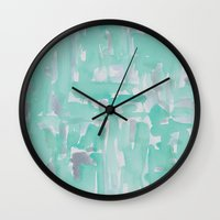 aqua Wall Clocks featuring Aqua by Georgiana Paraschiv