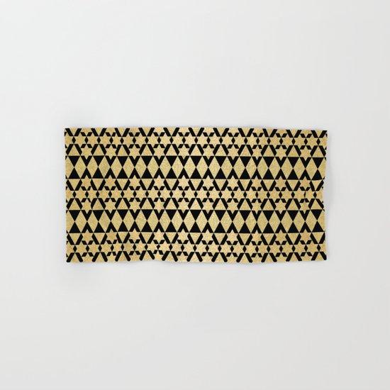 Black and Gold Geometric Pattern 4 Hand & Bath Towel