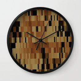 Brown Khaki Tan Brown and Black Digi Fractal Wall Clock