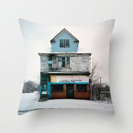 Thorntn Grocery. Detroit, Michigan. Throw Pillow