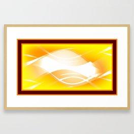 Background of white waves. Geometric pattern of white stripes and waves on a yellow background Framed Art Print