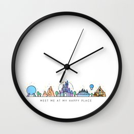 Meet me at my Happy Place Theme Park Skyline Wall Clock