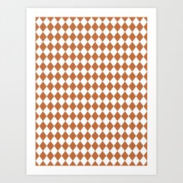 Hazel Brown Modern Diamond Pattern Art Print