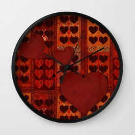 """San Valentín Vintage textile patches"" Wall Clock"