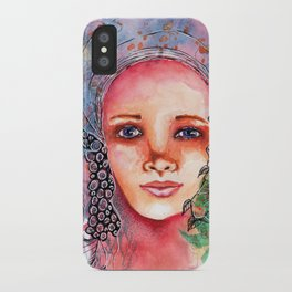 Flower Beauty   Whimsical face with flowers. Floral. Watercolor iPhone Case