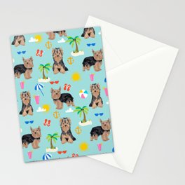 Yorkshire Terrier dog breed pet pattern dog art pet friendly terriers portrait beach summer Stationery Cards