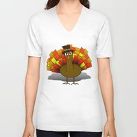 thanksgiving V-neck T-shirts featuring Thanksgiving Turkey Pilgrim by Gravityx9