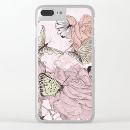 Victorian style classic pattern with butterflies and roses Clear iPhone Case