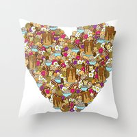 breakfast Throw Pillows featuring Breakfast by Julia Emiliani