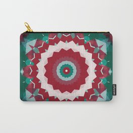 Holiday Red and Green Simple Flower Mandala Carry-All Pouch