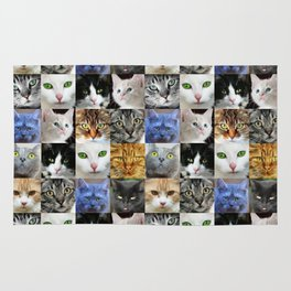 Cat Face Collage Rug
