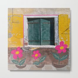 Plastic flowers by the decaying painted wall Metal Print