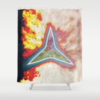 big bang Shower Curtains featuring Big Bang by Helle Gade