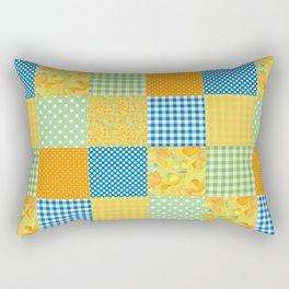 Golden Daffodils Faux Patchwork Rectangular Pillow