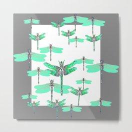 WHITE FLIGHT OF GREEN DRAGONFLIES GREY DESIGN Metal Print