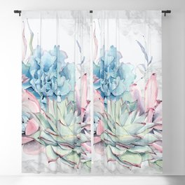 Beautiful Succulents on Marble by Nature Magick Blackout Curtain