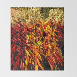 Ristras made from green, yellow, orange and red chile peppers Throw Blanket