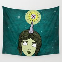 cyclops Wall Tapestries featuring Unicorn Cyclops by A+A Noisome Art