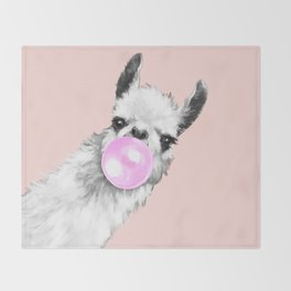 Bubble Gum Black and White Sneaky Llama in Pink Throw Blanket