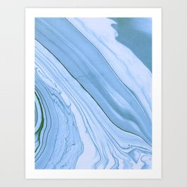 Currents of Blue Marble Pattern Art Print