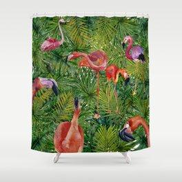 Aloha- Flamingo Bird Jungle Shower Curtain
