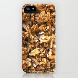 Close-Up Of Peeled Fresh Walnuts Background iPhone Case