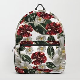 Veggie pattern of pomegranate fruits and flowers of wild white rose Backpack