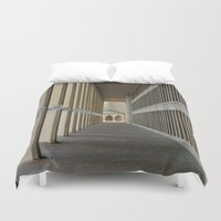 outdoor Duvet Covers featuring Outdoor Corridor by Kevin Myron