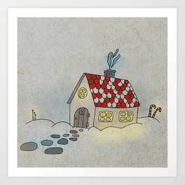 Winter Evening in Tiny Gingerbread House Art Print