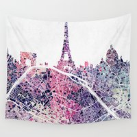 skyline Wall Tapestries featuring Paris Skyline + Map #1 by Map Map Maps