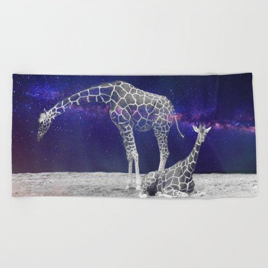 Giraffes on The Moon #society6 #artprints #buyart Beach Towel