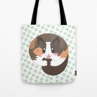 fat Tote Bags featuring Fat Fat the Cat! by Fat Fat