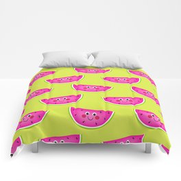 Cute Pink Watermleons on Lime Comforters