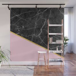 Black marble geometric gold leaf with pink Wall Mural