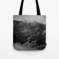 hollywood Tote Bags featuring Hollywood by Amandaryanbatten