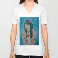 grimes V-neck T-shirts featuring Grimes by Jenn