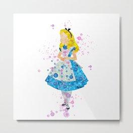 Alice In Wonderland Watercolor Metal Print