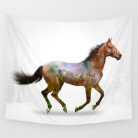 horse Wall Tapestries featuring horse by ron ashkenazi