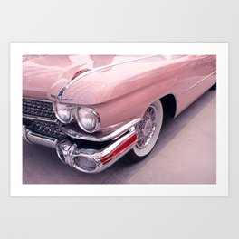 Vintage Peach Car | Blush Pink Art | Car Photography | Bedroom Art Art Print