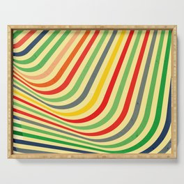 Optical Illusion Striped Distorted Pattern Serving Tray