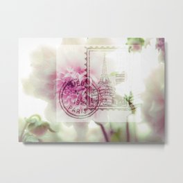 Paris Floral Postage Stamp Metal Print