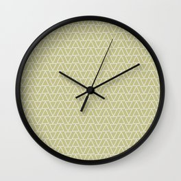 Abstract geometric pastel green white gradient triangles Wall Clock