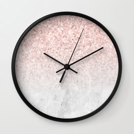 She Sparkles Rose Gold Pink Concrete Luxe Wall Clock