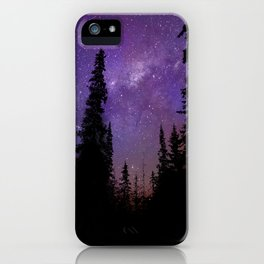 Milky Way Galaxy Over the Forest iPhone Case
